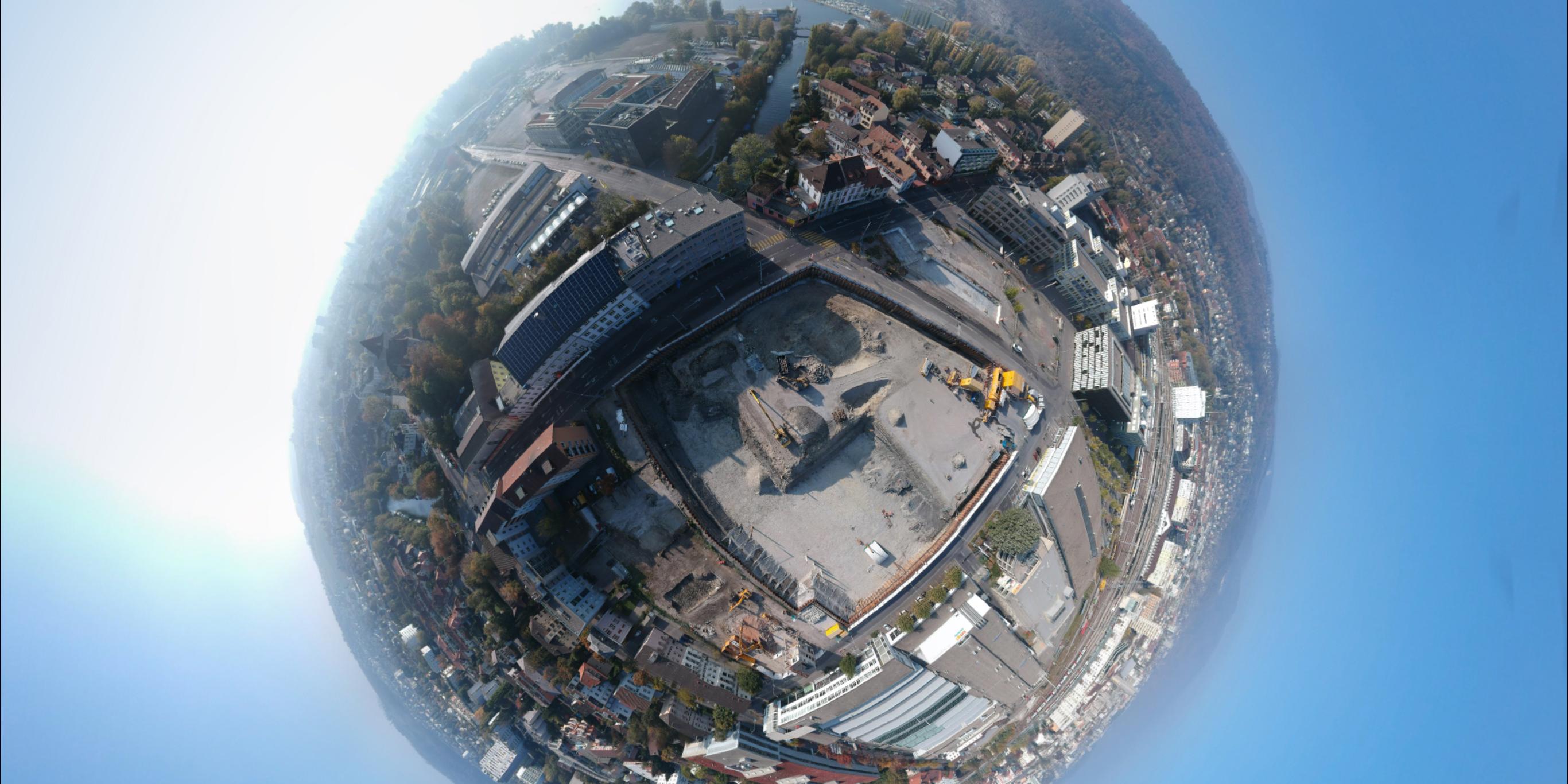 Vue aérienne du chantier du Campus Biel/Bienne.