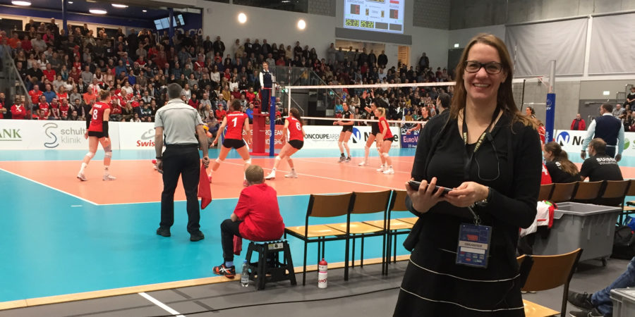 Petra Kupferschmid beim EM-Qualifikationsspiel in der Dreifachhalle in Schönenwerd