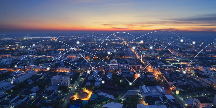 Symbolbild einer vernetzten Stadt
